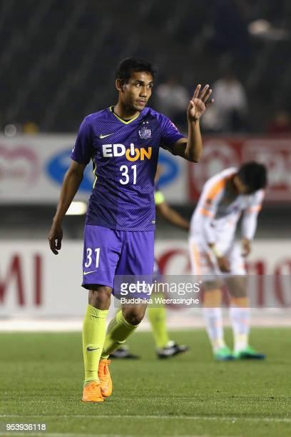 Teerasil Dangda of Sanfrecce Hiroshima reacts during the J.League J1 match between Sanfrecce Hiroshima and Shimizu S-Pulse at Edion Stadium Hiroshima...