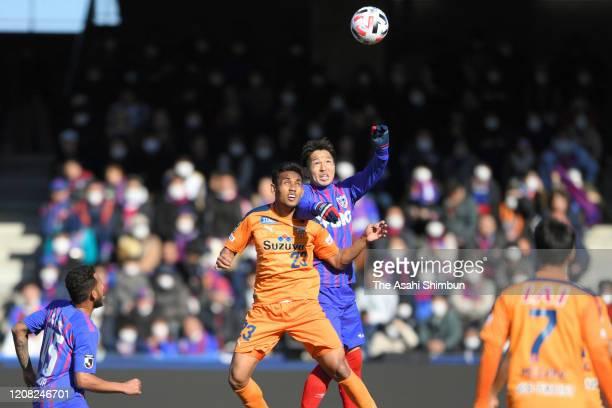 Teerasil Dangda of Shimizu S-Pulse and Masato Morishige of FC Tokyo compete for the ball during the J.League Meiji Yasuda J1 match between Shimizu...