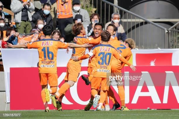 Teerasil Dangda of Shimizu S-Pulse celebrates sc the opening goal with his team mates during the J.League MEIJI YASUDA J1 match between Shimizu...