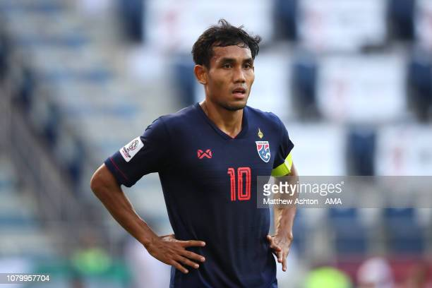 Teerasil Dangda of Thailand in action during the AFC Asian Cup Group A match between Bahrain and Thailand at Al Maktoum Stadium on January 10, 2019...