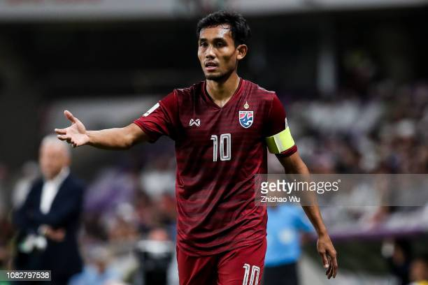 Teerasil Dangda of Thailand in action during the AFC Asian Cup Group A match between the United Arab Emirates and Thailand at Hazza Bin Zayed Stadium...