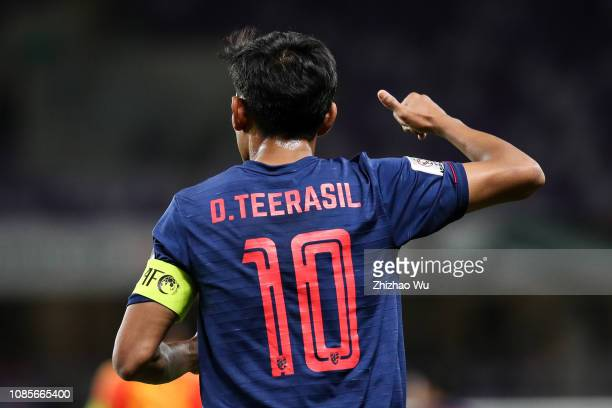 Teerasil Dangda of Thailand in action during the AFC Asian Cup round of 16 match between Thailand and China at Hazza Bin Zayed Stadium on January 20,...