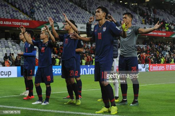 Teerasil Dangda of Thailand looks on after the AFC Asian Cup round of 16 match between Thailand and China at Hazza Bin Zayed Stadium on January 20,...