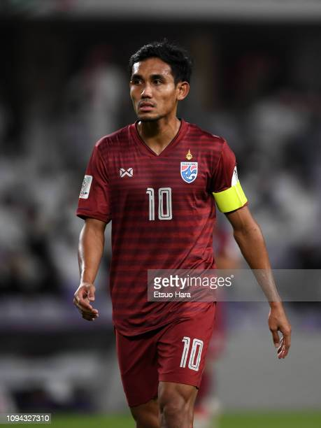 Teerasil Dangda of Thailand looks on during the AFC Asian Cup Group A match between the United Arab Emirates and Thailand at Hazza Bin Zayed Stadium...