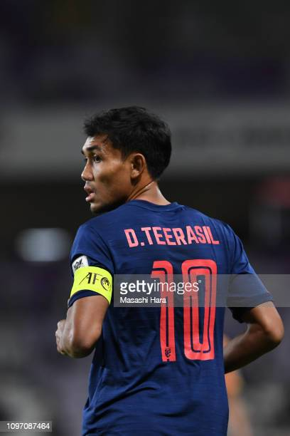 Teerasil Dangda of Thailand looks on during the AFC Asian Cup round of 16 match between Thailand and China at Hazza Bin Zayed Stadium on January 20,...
