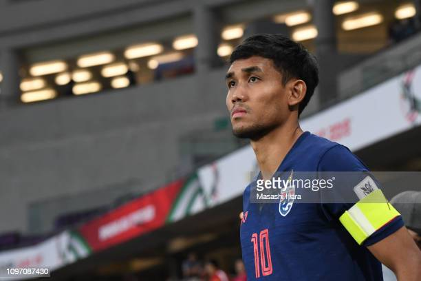 Teerasil Dangda of Thailand looks on prior to the AFC Asian Cup round of 16 match between Thailand and China at Hazza Bin Zayed Stadium on January...