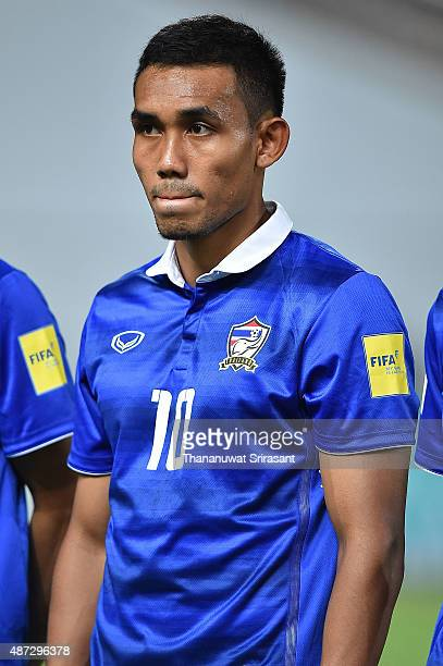 Teerasil Dangda of Thailand poses during the 2018 FIFA World Cup Qualifier match between Thailand and Iraq at Rajamangala Stadium on September 8,...