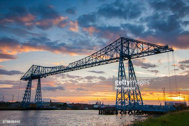 tees transporter bridge - middlesbrough stock pictures, royalty-free photos & images