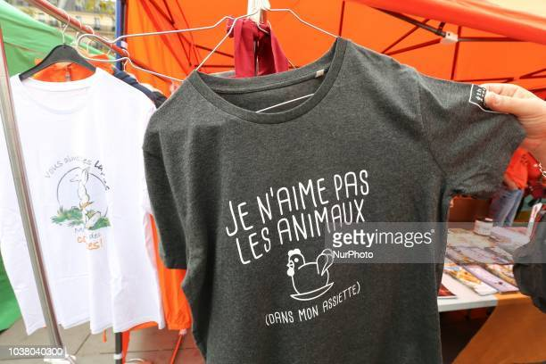 A teeshirt reading « I dont like animals » displayed at a stall during the 18th Paris Veggie Pride on September 22 2018 in Paris The Paris Veggie...