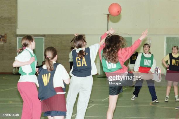 Teesside Junior Netball league at Brackenhoe School, Middlesbrough, 11th March 1997. Brackenhoe v Castaway .
