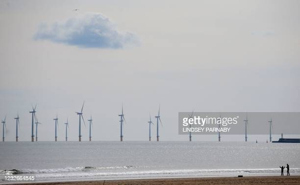 Teesside Offshore Windfarm, operated by EDF Energy, is pictured off of the cost of Hartlepool in north east England on May 3, 2021.