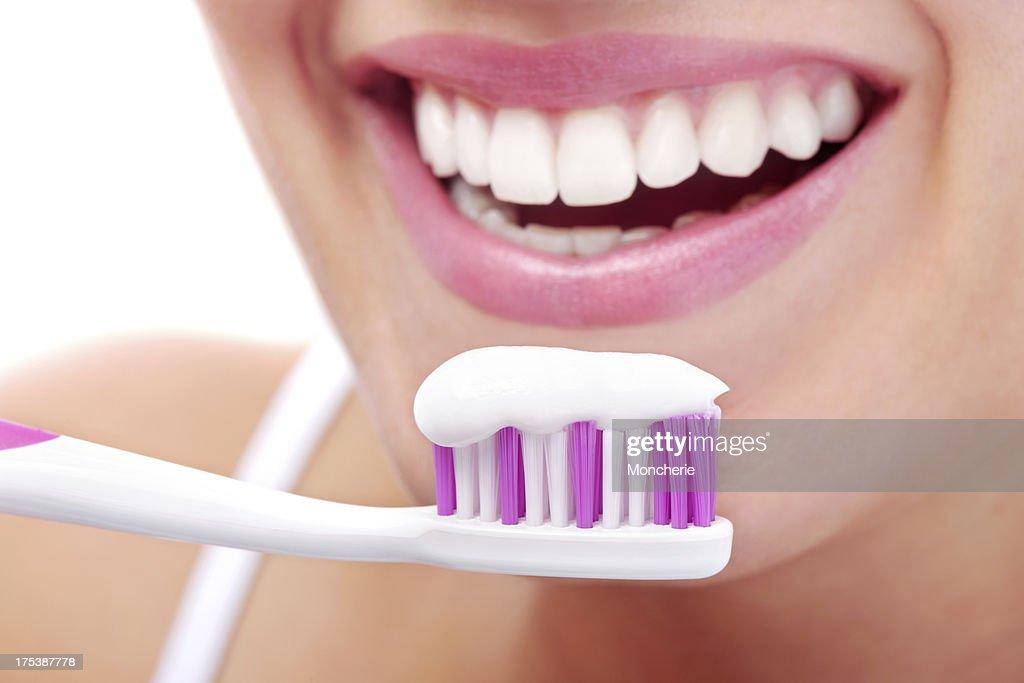 Teeth brushing : Stock Photo
