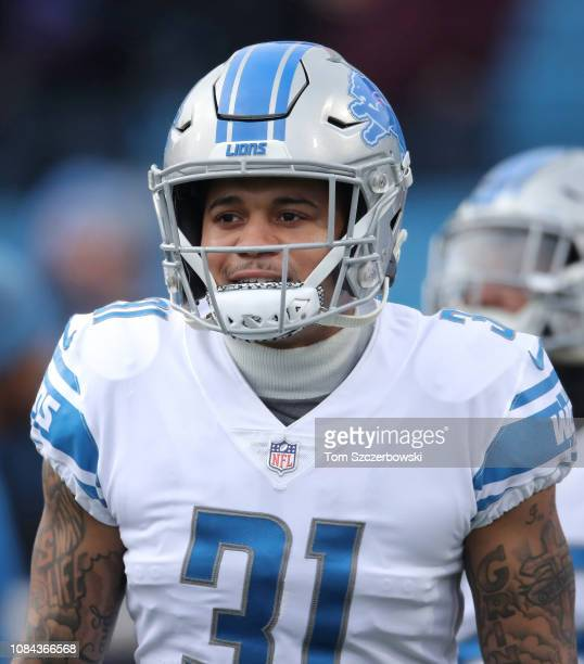 Teez Tabor of the Detroit Lions warms up before the start of NFL game action against the Buffalo Bills at New Era Field on December 16 2018 in...