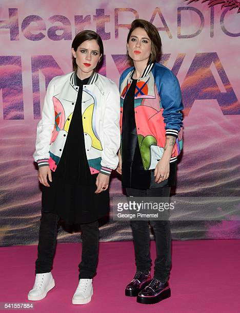 Tegan and Sara pose in the press room at the 2016 iHeartRADIO MuchMusic Video Awards at MuchMusic HQ on June 19 2016 in Toronto Canada