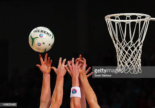 Tegan Caldwell and Kate Beveridge of the Vixens compete for the ball during the round 10 ANZ Championship match between the Vixens and the...
