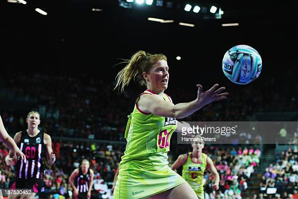 Tegan Caldwell of Australia regains posession during the final match between New Zealand and Australia on day three of the Fast5 Netball World Series...