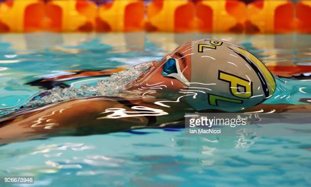 Tegan Drew of Plymouth competes in the heats of the Women's 100m Backstroke duringThe Edinburgh International Swim meet incorporating the British...