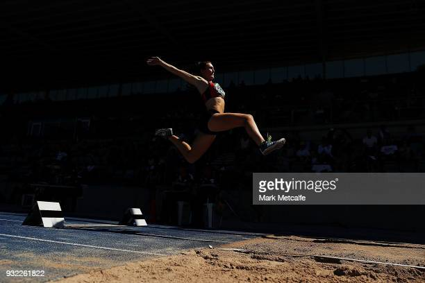 Tegan Duffy of New Zealand competes in the Women's Under 20 Long Jump during day two of the Australian Junior Athletics Championships at Sydney...