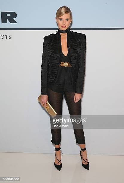 Tegan Martin arrives ahead of the Myer Spring 2015 Fashion Launch on August 13 2015 in Sydney Australia
