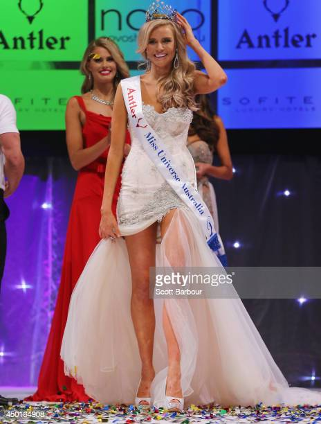 Tegan Martin of Newcastle New South Wales reacts after being crowned Miss Universe Australia 2014 on June 6 2014 in Melbourne Australia