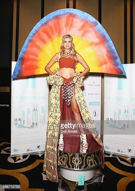 Tegan Martin poses in the winning costume at the Elucent Skincare National Costumer Winner announcement show at Doltone House on October 6 2014 in...