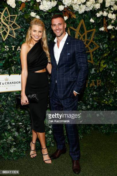 Tegan Nash and Kris Smith arrive ahead of the Star Doncaster Mile Inaugural Luncheon at The Star on March 30 2017 in Sydney Australia