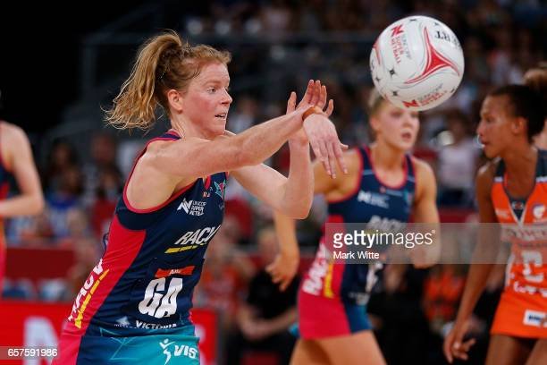 Tegan Philip of Melbourne Vixens throws the ball during the round six Super Netball match between the Vixens and the Giants at Hisense Arena on March...