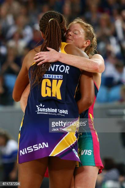 Tegan Philip of the Melbourne Vixens and Geva Mentor of the Lightning hug after the round 10 Super Netball match between the Vixens and the Lightning...