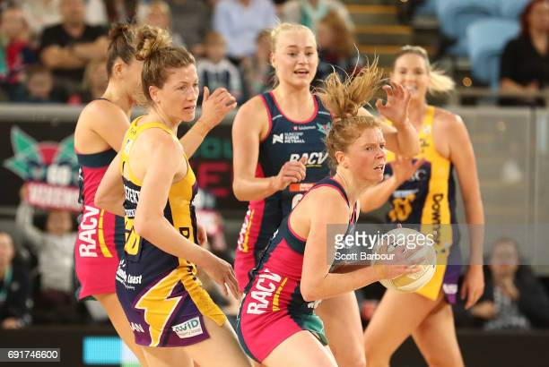 Tegan Philip of the Vixens competes for the ball during the Super Netball Major Semi Final match between the Vixens and the Lightning at Margaret...