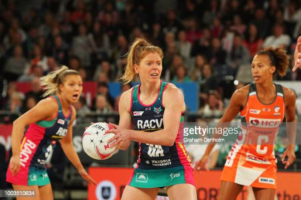 JamieLee Price of the Giants and teammate Kristina Brice smile following victory in the round 12 Super Netball match between the Vixens and the...