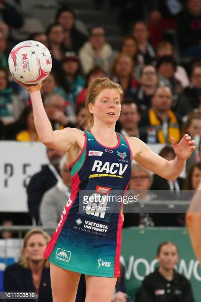 Tegan Philip of the Vixens looks to pass the ball during the round 14 Super Netball match between the Vixens and the Lightning at Hisense Arena on...