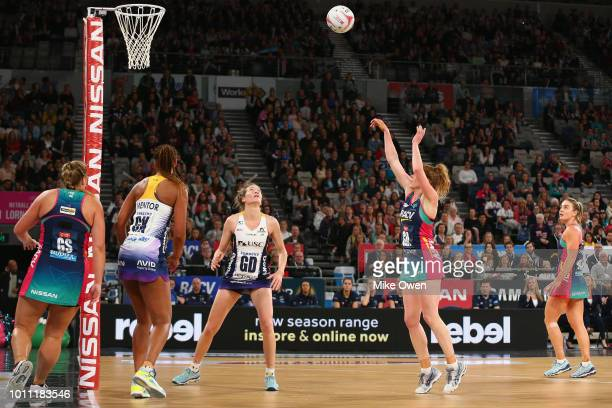 Tegan Philip of the Vixens shoots during the round 14 Super Netball match between the Vixens and the Lightning at Hisense Arena on August 5 2018 in...