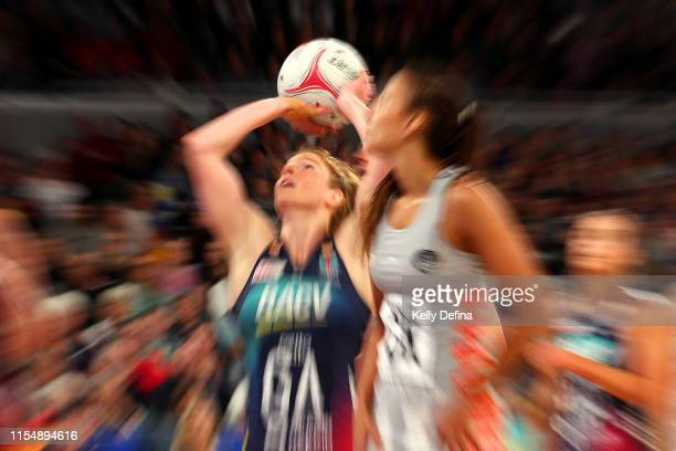 Tegan Philip of the Vixens shoots during the round 7 Super Netball match between the Vixens and the Magpies at Melbourne Arena on June 10 2019 in...