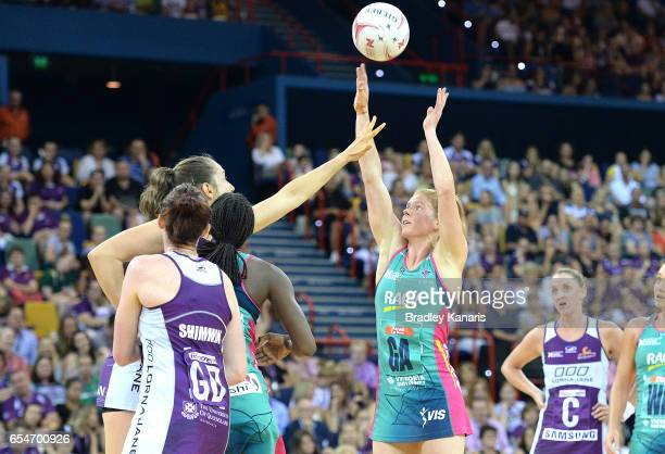 Tegan Philip of the Vixens shoots during the round five Super Netball match between the Firebirds and the Vixens at Brisbane Entertainment Centre on...
