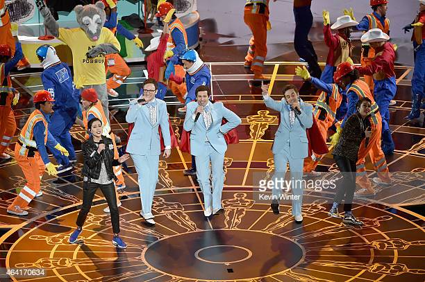 Tegan Quin and Sara Quin of 'Tegan and Sara' and Akiva Schaffer Andy Samberg and Jorma Taccone of 'The Lonely Island' perform 'Everything Is Awesome'...