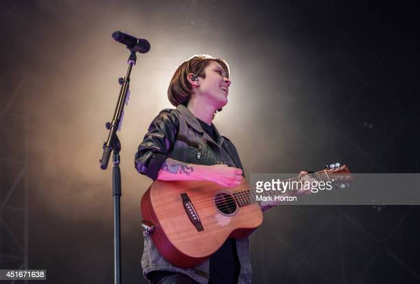 Tegan Quin of Tegan and Sara performs on Day 1 of the RBC Royal Bank Bluesfest on July 3 2014 in Ottawa Canada