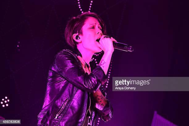 Tegan Quin of Tegan and Sara performs the Lexus Pop Up Concert Series Powered By Pandora on November 19, 2014 in Costa Mesa, California.