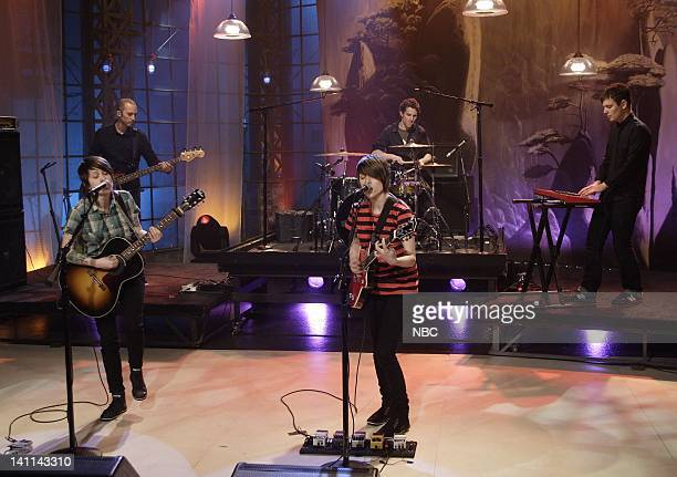 LENO Tegan Sara Air Date Episode 3542 Pictured Musical guest Tegan Sara perform on April 23 2008 Photo by Paul Drinkwater/NBCU Photo Bank