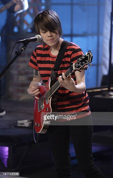 Tegan & Sara -- Air Date -- Episode 3542 -- Pictured: Musical guest Tegan & Sara perform on April 23, 2008 -- Photo by: Paul Drinkwater/NBCU Photo...