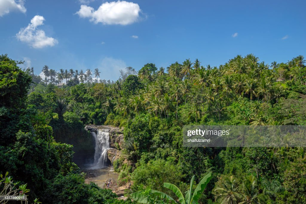 Tegenungan waterfall, it is one of the many tourist places and destination in Bali : Stock Photo