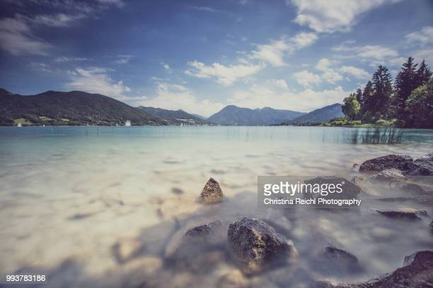 tegernsee on a sunny day with a few clouds - tegernsee stock pictures, royalty-free photos & images