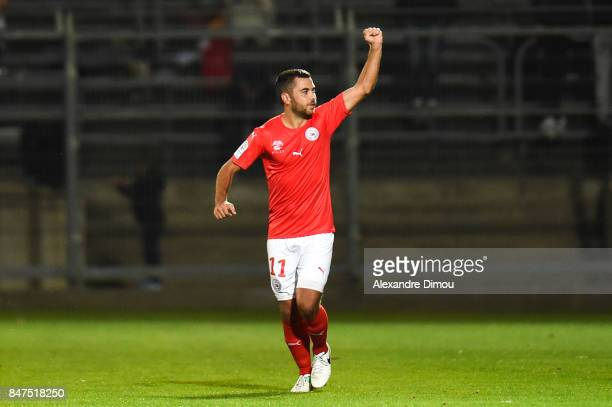 Tegi Savanier of Nimes celebrates his goal during the Ligue 2 match between Nimes and Aj auxerre on September 15 2017 in Nimes France
