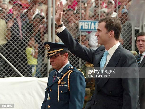 El principe de Asturias Felipe de Borbon entra al estadio Tiburcio Carias Andino en Tegucigalpa el 27 de enero de 2006 para asistir de la toma de...