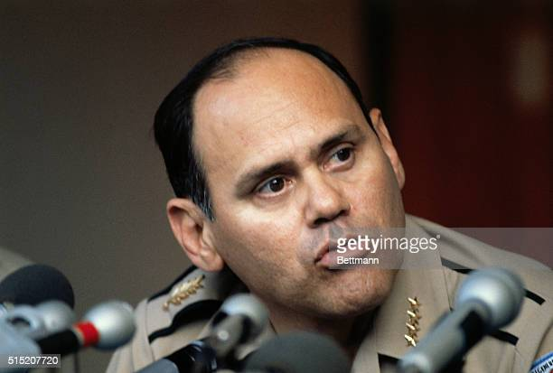 Tegucigalpa, Honduras: Honduran commander-in-chief of the armed forces General Gustavo Alvarez Martinez, explains to an August 18 news conference...