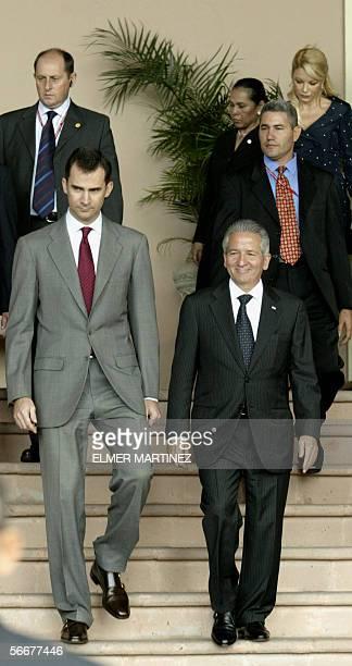 Spain's Crown Prince Felipe de Borbon and Honduran President Ricardo Maduro leave the Presidential House in Tegucigalpa 26 January 2006 The Prince is...
