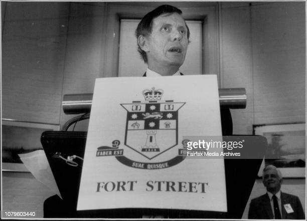 Teh launching of Ron Horan's book 'Fort Street' at the ER Erwin Gallery Justice Michael Kirby March 29 1990