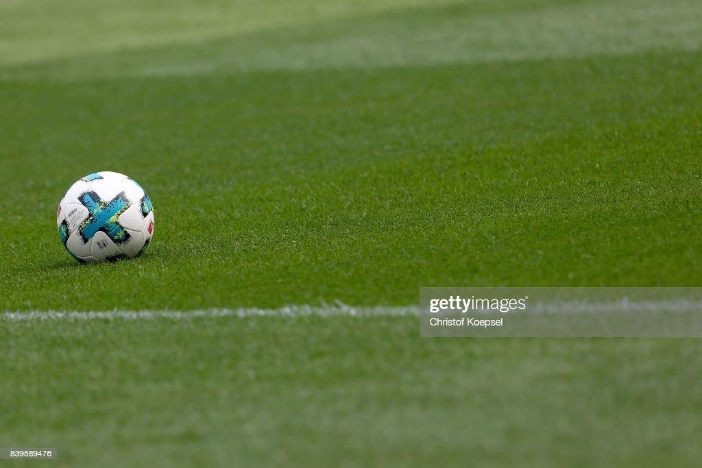 Teh Torfabrik ball lies on the pitch prior to the Bundesliga match between Bayer 04 Leverkusen and TSG 1899 Hoffenheim at BayArena on August 26, 2017 in Leverkusen, Germany.