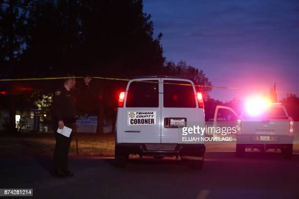 A Tehama County Coroner's van enters the Rancho Tehama Elementary school grounds after a shooting on November 14 in Rancho Tehama California Four...