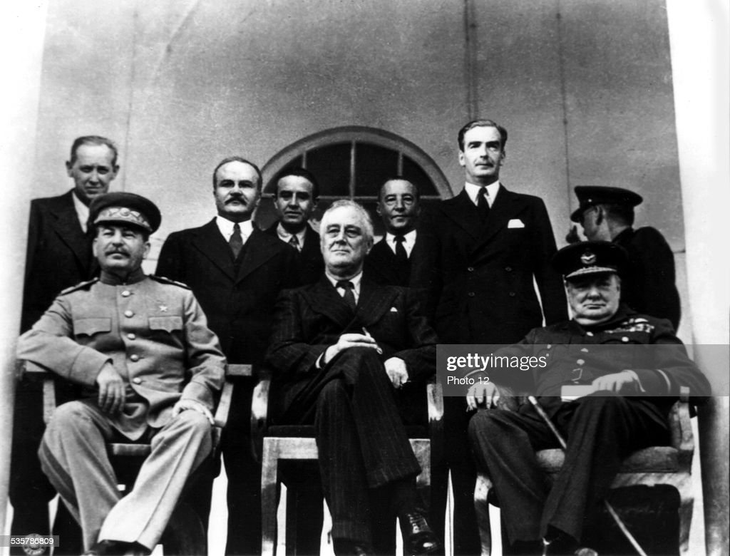 Teheran conference. From the l. to the r.: Joseph Stalin, Franklin D. Roosevelt and Winston Churchill (1943) : News Photo