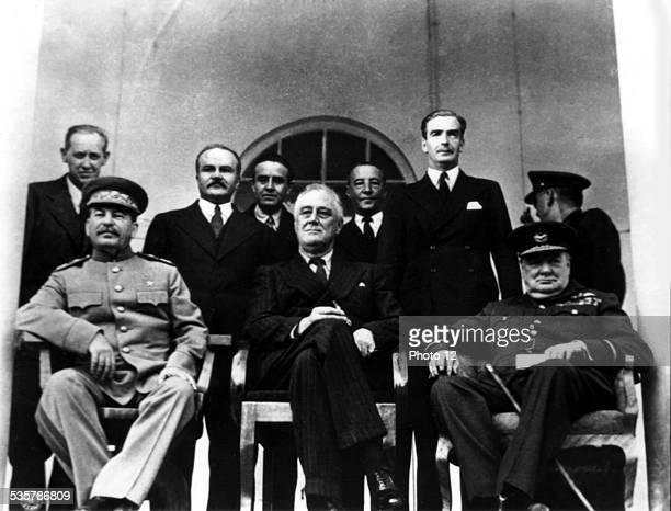 Teheran conference From the l to the r Joseph Stalin Franklin D Roosevelt and Winston Churchill Iran World War II